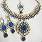 Glittering World Designer Pearl & CZ Stone Necklace Mang Tikka Set in Blue