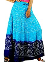 Exotic India Bandhani Tie-Dye Skirt from Jaipur with Large Sequins - Color Blue And PurpleGarment Size Free Size