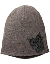 D&Y Women's Solid Beanie with Owl Applique