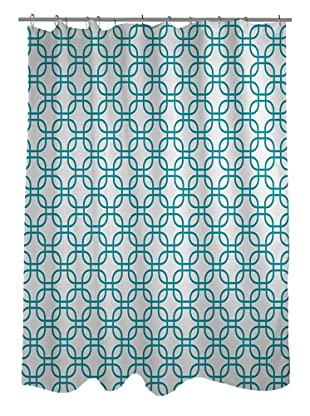 One Bella Casa Hisa Geometric Shower Curtain, White/Peacock Blue