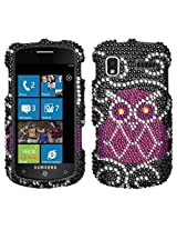 Samsung Focus I917 Black Silver Pink Owl Full Diamond Bling Snap on Design Hard Case Faceplate