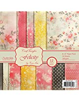 """Wild Republic CrafTangles Scrapbook and Craft Paper Pack - Felicity (Size 6""""X6"""") 12 Designs 24 Sheets For Card & Scrapbooking"""