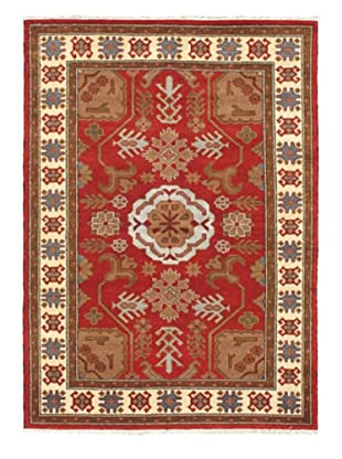 Hand-Knotted Royal Kazak Wool Rug, Dark Red, 5' 8