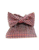 FBT-VS-521 - Red - Orange - Navy - Ultra Modern Self Tie Bow Tie Hanky