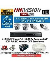 HIKVISION Full HD (2MP) 4CCTV Cameras & 8Ch.Full HD DVR Kit (All Accessories)