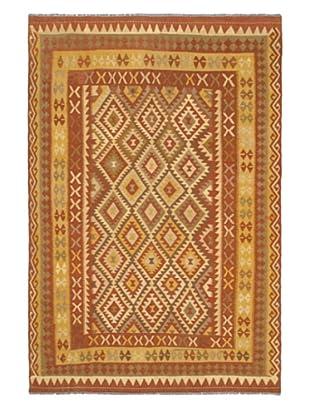 Hand Woven Anatolian Wool Kilim, Copper, 6' 6