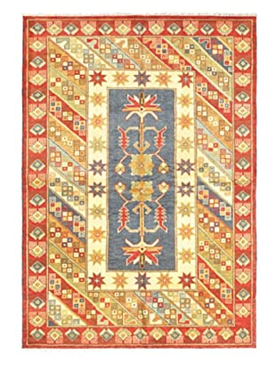 Hand-Knotted Royal Kazak Rug, Cream/Red, 5' 9