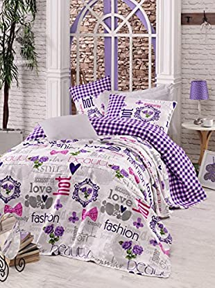 Homemania Tagesdecke Fashion Love flieder 160 x 240 cm