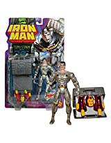 Toy Biz Year 1995 Marvel Comics Iron Man Series 5 Inch Tall Action Figure Tony Stark With Armor Carrying Case, Head Cover And 2 Leg Armors