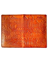 Passport Holder/Cover of ABS Leather with India Mystic Land Theme (Tan)