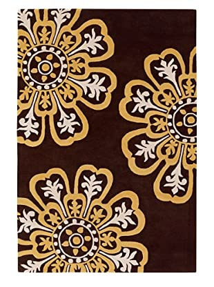 Chandra Counterfeit Studio Hand Tufted Wool Rug (Chocolate/Sunshine)