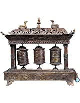 Triple Prayer Wheels with Incense Holder and Burner - Copper