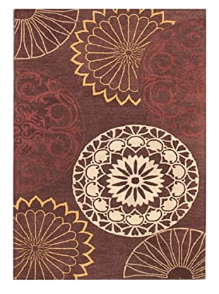 Mili Designs NYC Circle Of Life Patterned Rug, Rust/Multi, 5' x 8'