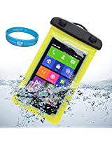 """Sumaccn Underwater Waterproof Case Bag Pouch With Removable Strap Armband For BLU Studio 5.0k / BLU Studio 5.0 C HD / BLU Studio 5.5 D610a / SHARKK Android Smartphone 4G Unlocked GSM Phone 5"""" + SumacLife TM Wisdom Courage (Yellow)"""