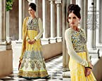 GREY AND YELLOW RESHAM WORK PARTY WEAR BRIDAL ANARKALI SUIT