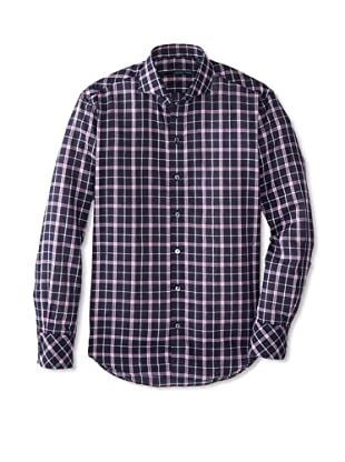 Zachary Prell Men's Thai Checked Long Sleeve Shirt (Pink/Navy)