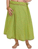 Exotic India Drawstring Printed Midi Skirt with Piping - Color Green SheenGarment Size Free Size