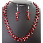 Kalakrita - ZigZag Red Crystal Necklace Set