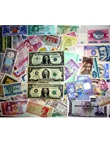 103 Different Collectible US and Foreign Currency Bank Notes USA silver certificate, Star Note $2 note Saddam Note