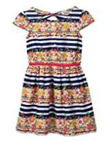 Striped Floral Print Dress Multi-col 9Y