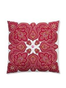 """Peking Handicraft Potala Embroidered Linen Pillow, Pink/Gold, 20"""" x 20"""""""
