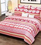 Home Candy Floral Cotton Kids Double Bedsheet with 2 Pillow Covers - Red (CTN-BST-320)