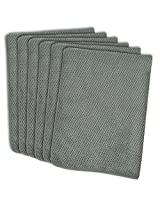 DII Textured Kitchen Cleaning, Washing, Drying, Dusting, Ultra Absorbent, Microfiber Dish Towel for Countertops, Automobiles, Glass, & Other Surfaces, Set of 6, 16x19 Inch - Gray