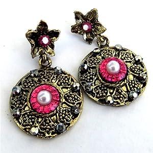 PInk & copper earrings - S-Jewellery-Mahusiano