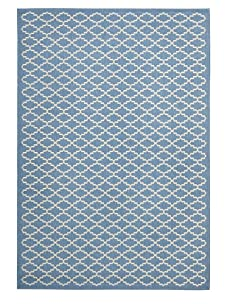 Indoor/Outdoor Patterned Rug (Blue/Beige)