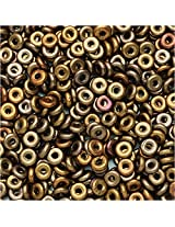 Czech Glass Flattened O Beads, 3.8x1mm, 8 Gram Tube, Metallic Mix