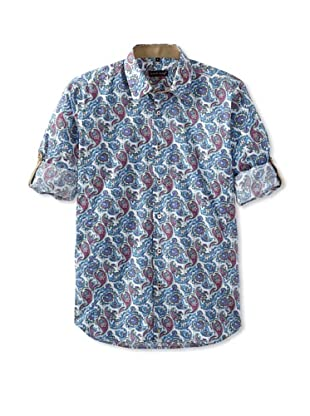 Jared Lang Men's Long Sleeve Paisley Shirt (White/Blue)