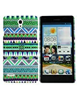 Heartly Aztec Tribal Art Printed Design Retro Color Armor Hard Bumper Back Case Cover For Huawei Ascend G700 - Nature Green