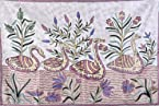 Ivory Asana Mat with Embroidered Ducks on Water - Resham on Canvas