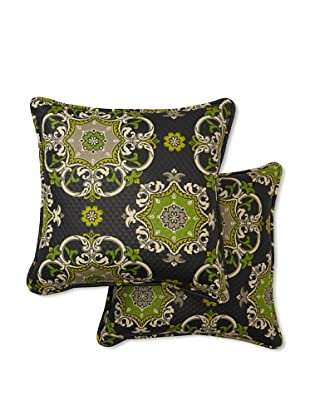 Set of 2 Garden Crest Square Decorative Throw Pillows (Onyx)