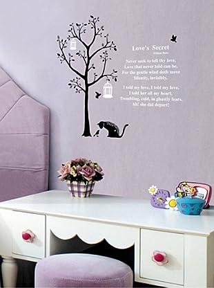Vinilo Adhesico árbol y gatos Multicolores