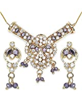12.90 Grams Purple Cubic Zirconia & White Cubic Zirconia Gold Plated Brass Pendant Set
