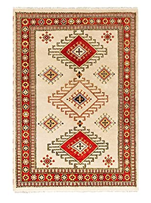Hand-Knotted Royal Kazak Rug, Cream/Red, 5' 6