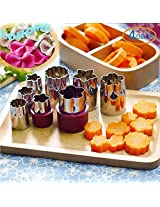 LOHOME? Vegetable Cutter Mold, Stainless Steel Mini Cookie Cutters Slicer Flower Shape Cake Vegetable Fruit Cutter Mold Tool (4 Set/32 PCS)