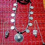 Silver Metal Oxidised Silver Jewellery Set