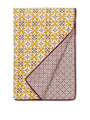 Handmade Interiors Elmas & Nila Hand Screen-Printed Quilted Throw (Yellow/Purple)