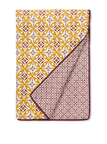 Handmade Interiors Elmas & Nila Hand Screened Printed Cotton Quilted Throw (Yellow/Purple)