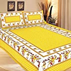 Jaipuri Sanagari Printed Double Bed Sheet With 2 Pillow Covers With Two Pillow Covers