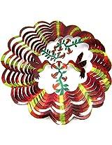 "Iron Stop 10"" 3D Wind Spinner Designer Hummingbirds Flowers Multi-Color Golden Red Green Powder Coat"