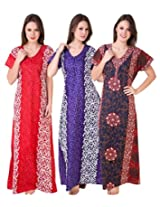 Masha Women's Cotton Nighty(NT3PCS-166-168-189)