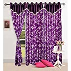 Mebelkart Beautiful Purple Color Flower Design Curtain With Handmade Laces