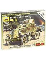 Zvezda Models BA-10 Soviet Armored Car WWII Vehicle Building Kit, Scale 1/100