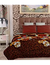 Home Candy Floral Cotton AC Blanket (Orange and Brown)