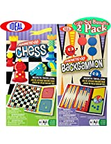 Ideal Magnetic-Go Chess & Backgammon Magnetic Travel Games Gift Set Bundle - 2 Pack