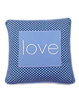 One Grace Place Simplicity Blue Decorative Pillow Love, Blue, Light Blue, White