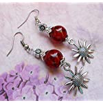 red and german silver fancy danglers